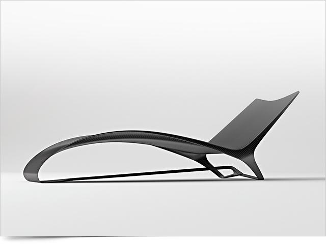 Carbon Fiber Chaise Longue FLUID By Mast Elements